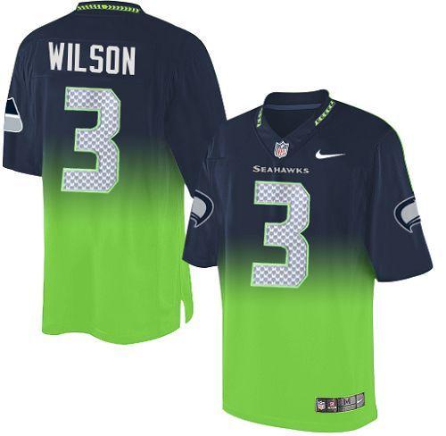 13bc56c7d Men's Nike Seattle Seahawks #3 Russell Wilson Elite Navy/Green Fadeaway NFL  Jersey - Replica