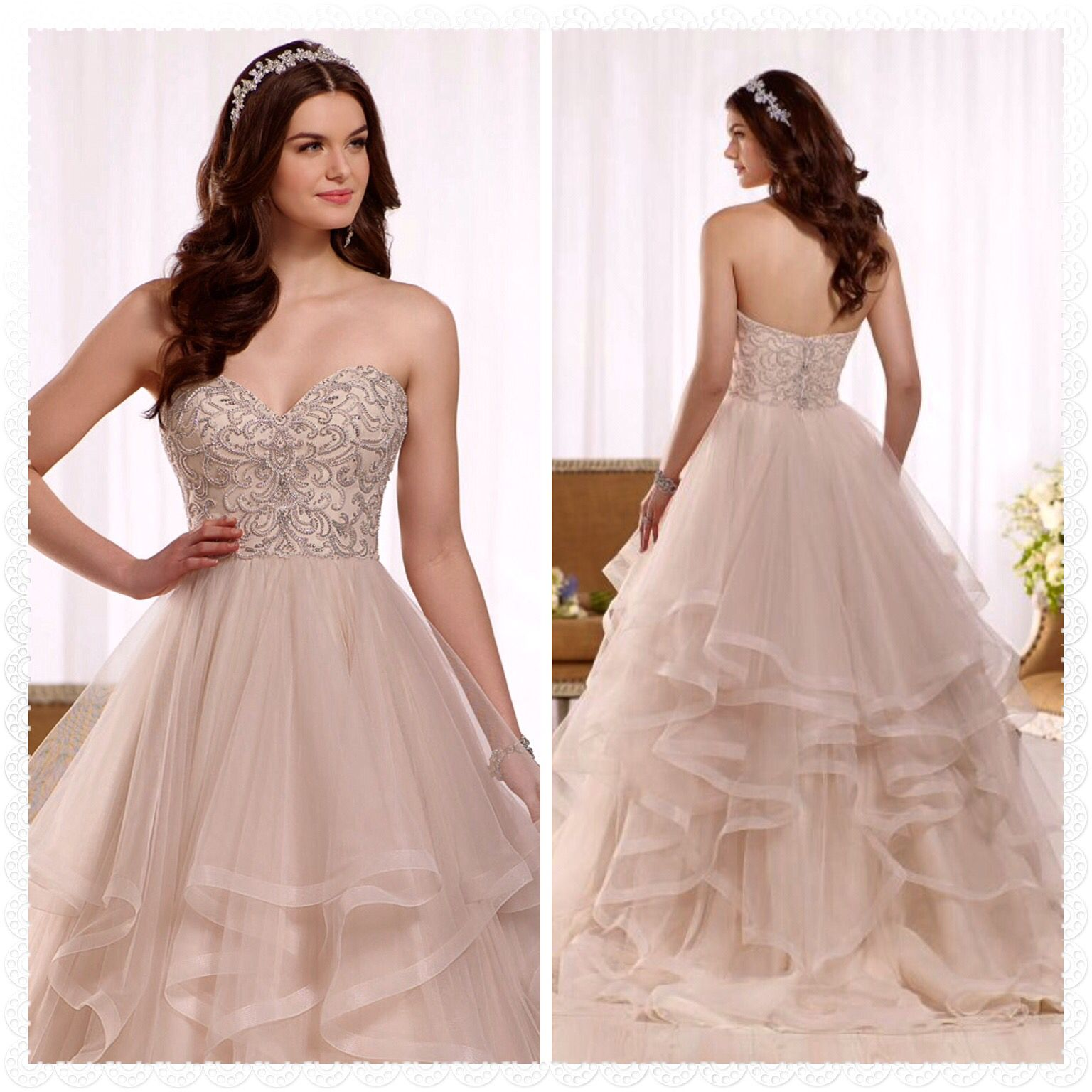 Lovely Blush Ball Gown With Textured Bottom Colored Wedding