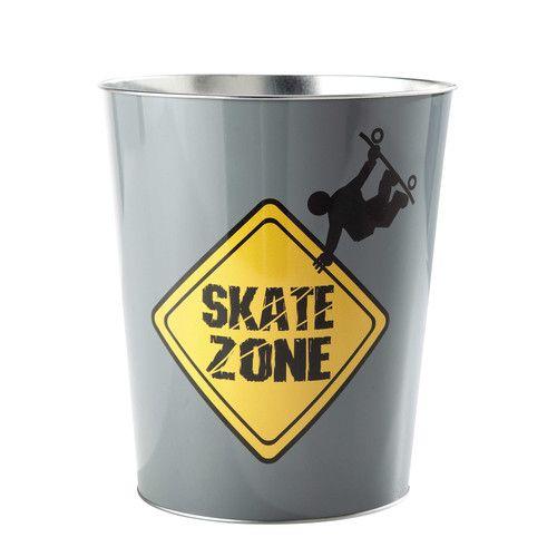 Corbeille papier en m tal grise jaune h 27 cm freestyle skate shack pin - Corbeille a papier enfant ...
