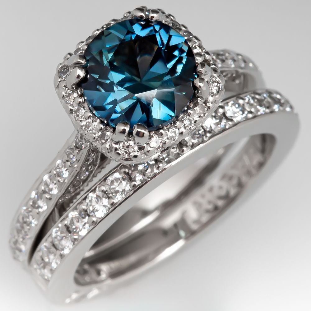 Tacori No Heat Blue Green Sapphire Engagement Ring Wedding