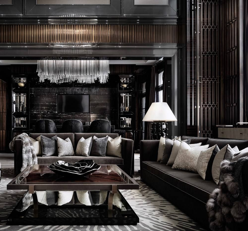 Rafauli iconic luxury design drawing room bar interior for Luxury apartment design interiors