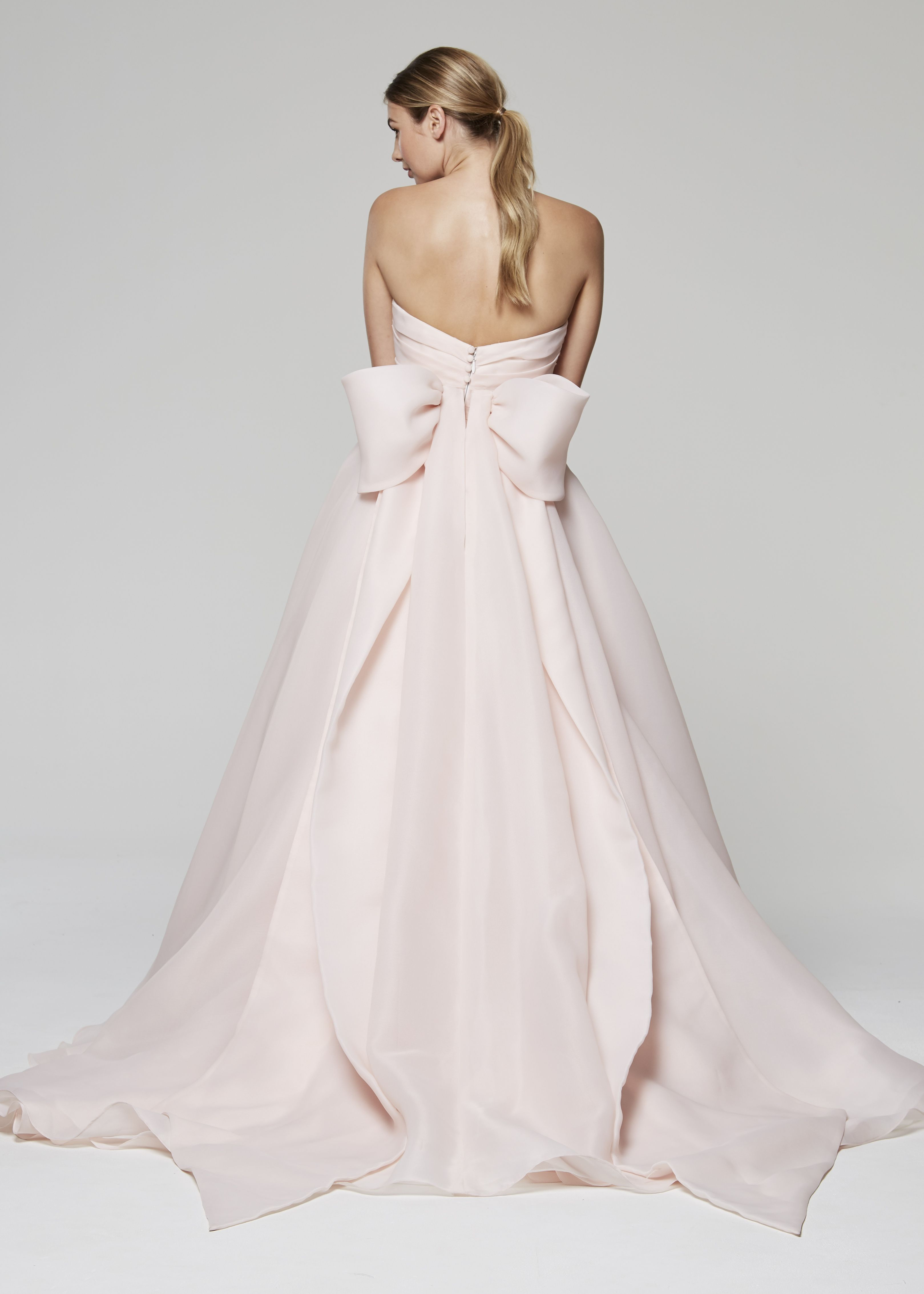 Abigail Blue Willow Bride By Anne Barge Fall 2018 Blush Pink Wedding Gown With Sweetheart Draped Bodice Of Gazar Full Circle Skirt Accented: Wedding Dresses With Pink Blue Accents At Websimilar.org