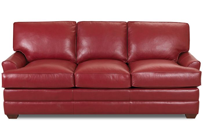 Red Leather Sleeper Sofa In Three Seats