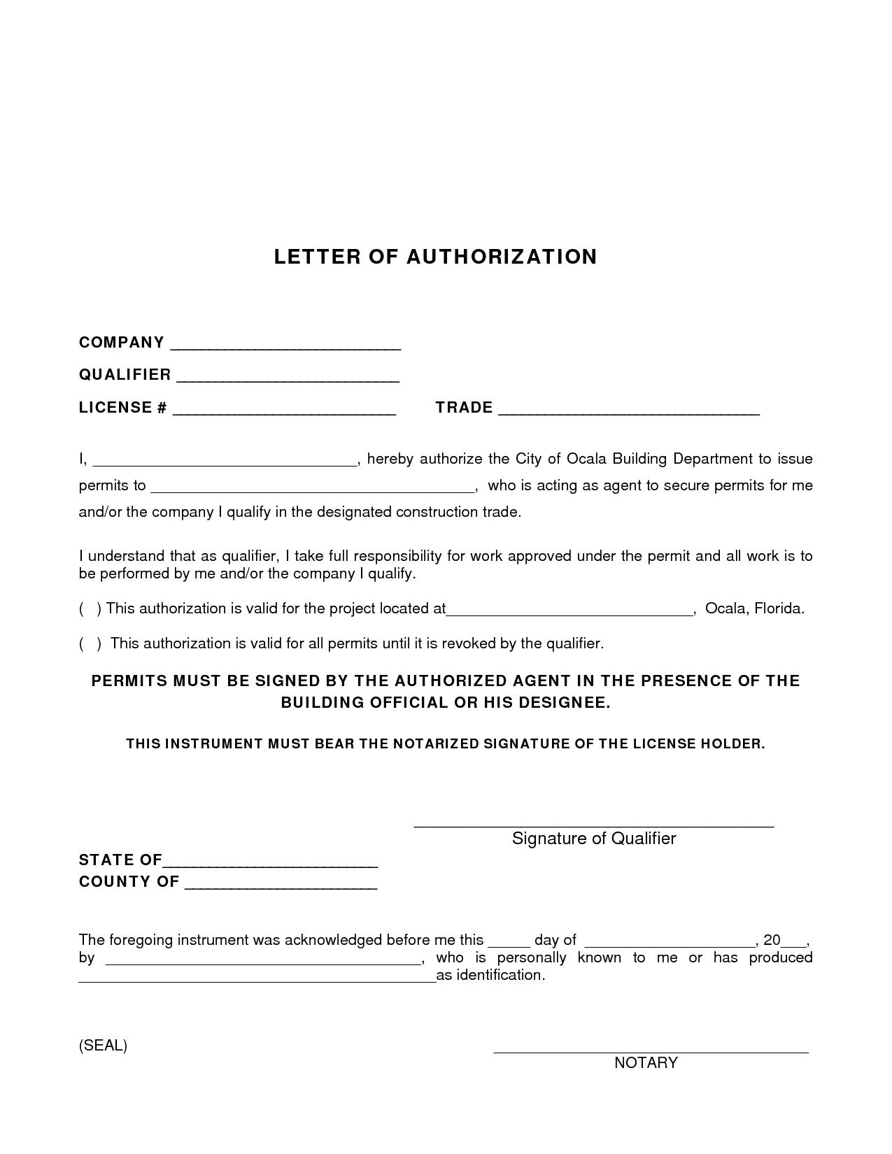 Permit Authorization Letter - sample authorization letter to process permit. Sample Permission ...