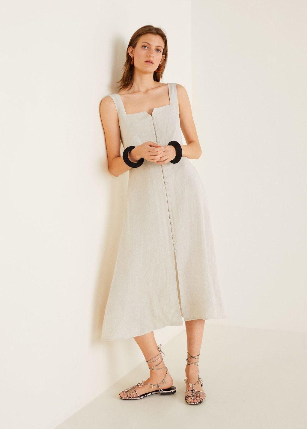 Buttoned midi dress - Women  Mango USA  Womens midi dresses