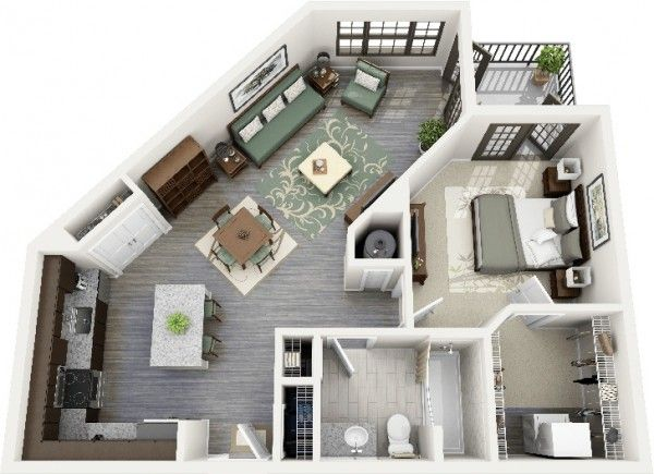 50 Plans en 3D d\u0027appartement avec 1 chambres Pinterest 3d, Plans