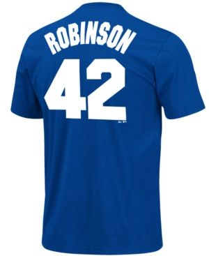 a1142c095 Majestic Men s Jackie Robinson Brooklyn Dodgers Player T-Shirt - Blue XXL