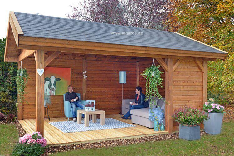 lugarde gartenlaube hamilton ph01 mit satteldach moderne freistehende gartenlaube in top. Black Bedroom Furniture Sets. Home Design Ideas