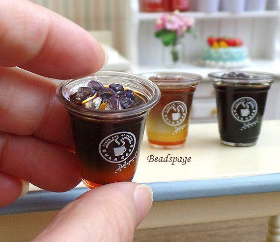 Miniature Food Iced Coffee Drinks Cafe Take-away by BEADSPAGE