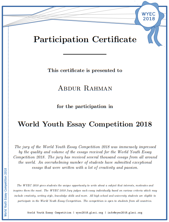 World Youth Essay Competition 2018 Essays