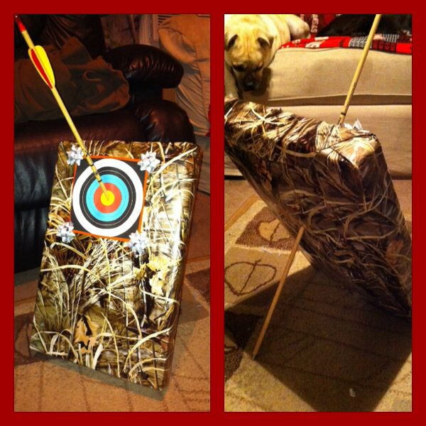 My camo creation, the gift is a t-shirt. The arrow is going through the arm holes :)
