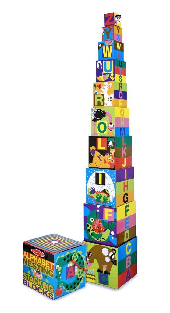 Animale frumos colorate si obiecte familiare ilustreaza literele alfabetului pe aceste cuburi. Cele zece blocuri se incadreaza unul in altul incutia inclusa si ajuta latransportul lor. Cuburile sunt facute din carton rezistent xare se poate curata usor. Aranjate unul peste altul in ordine, acestea alcatuiesc un turn înalt de aproape 92 cm! Compania americana producatoare de jucarii Melissa&Doug a fost infiintata in anul 1989 ca o afacere de familie, Melissa prezentand primu