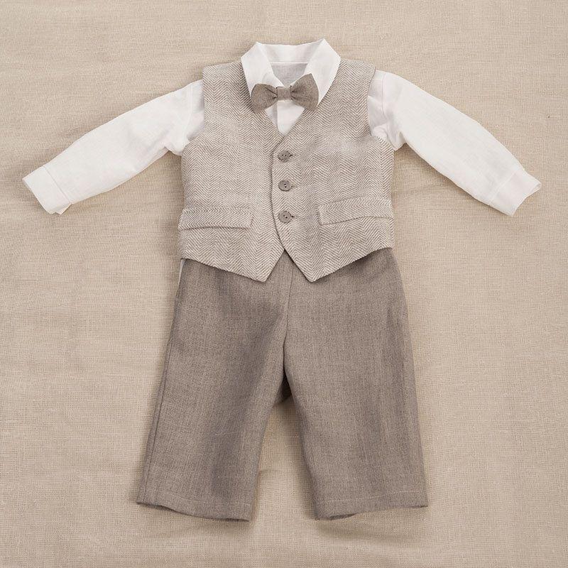 Kids boy natural linen suit, kids boy clothes, boys party suit ...