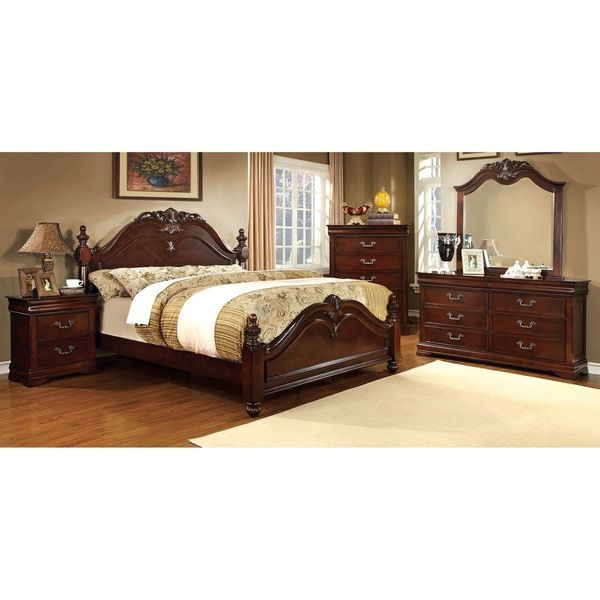 Furniture of America Bastillina English Style 4-piece Cherry Poster - Poster Bedroom Sets
