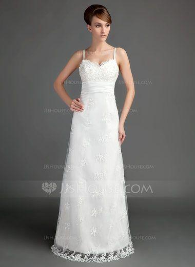 A-Line/Princess Sweetheart Floor-Length Satin Lace Wedding Dress With Ruffle Beading (002015697) - JJsHouse
