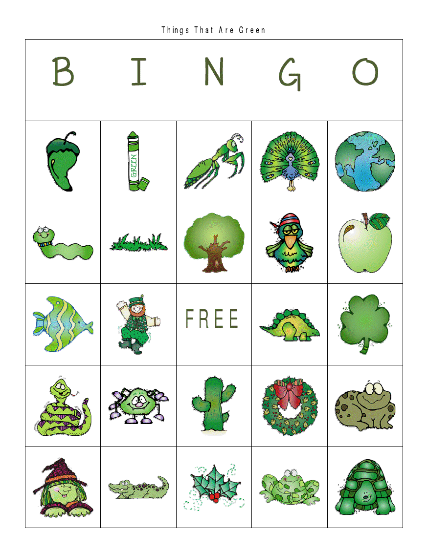 First Grade a la Carte: Things That are Green bingo | spring :: st ...
