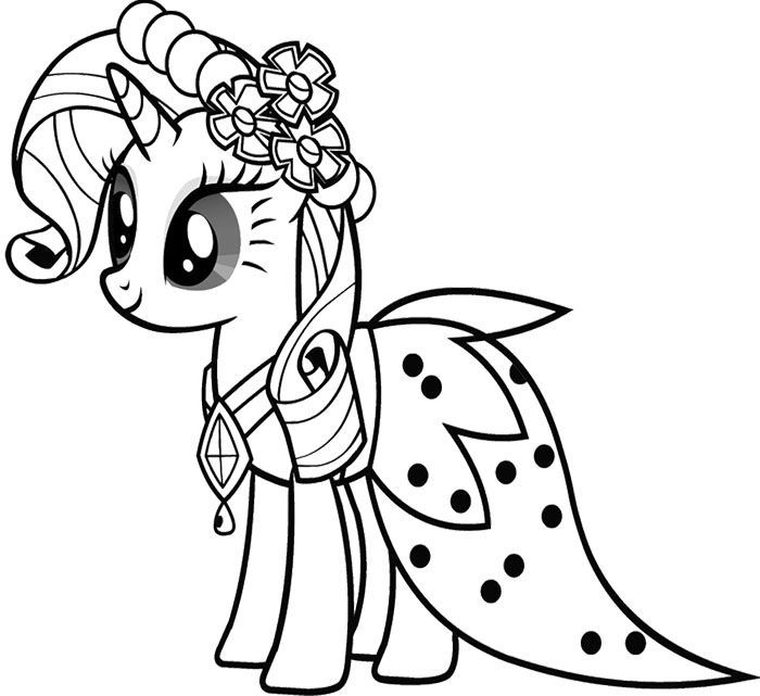 my little pony rarity wear dresses coloring pages for kids printable my little pony coloring pages for kids - Pony Coloring Pages