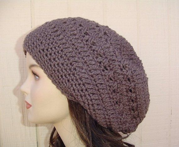 59affb3a21b  Taupe  Slouchy  Beanie  hat  Dread  tam  hat by  PurpleSageDesignz