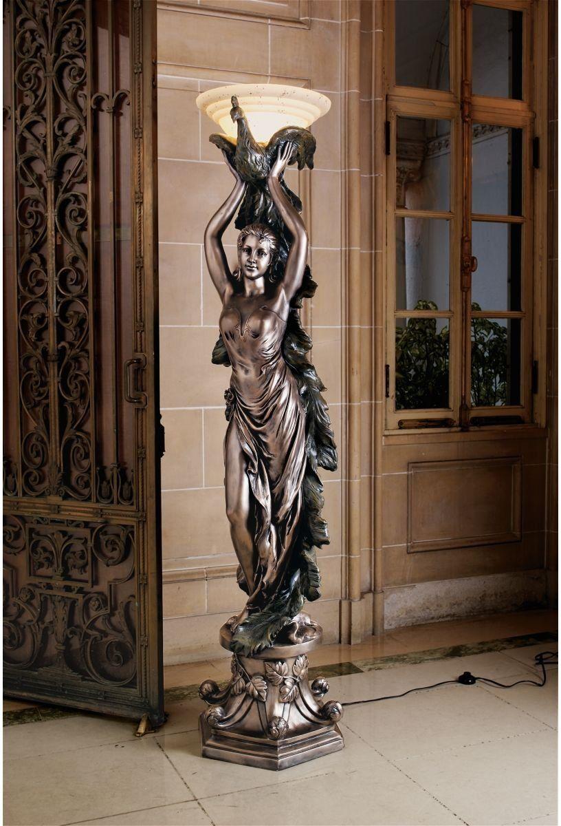 Great French Art Nouveau Bronze Statue Lamp | Art Deco Peacock Lady Statue Art  Nouveau Floor Lamp