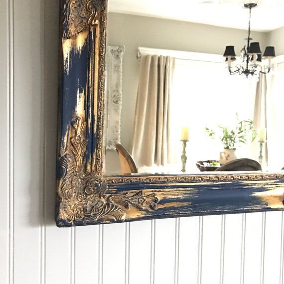 Custom Shabby Chic Wall Mirror Bathroom Mirror Blue Gold Distressed Vanity  Mirror French Country Ornate Mirror