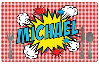 Personalized pop art placemats for kids - so cool!