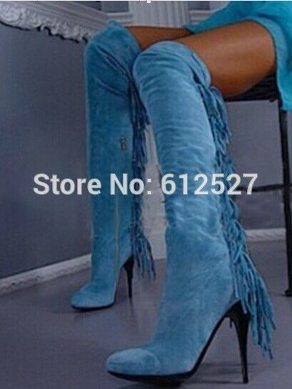 Find More Women's Boots Information about New arrival winter blue suede tassel thin heel thigh high boots for women fashion over the knee boots 2015 hot sale shoes,High Quality boot winter,China boot dryer Suppliers, Cheap boot boot boot from Fashion boutiques trade store on Aliexpress.com