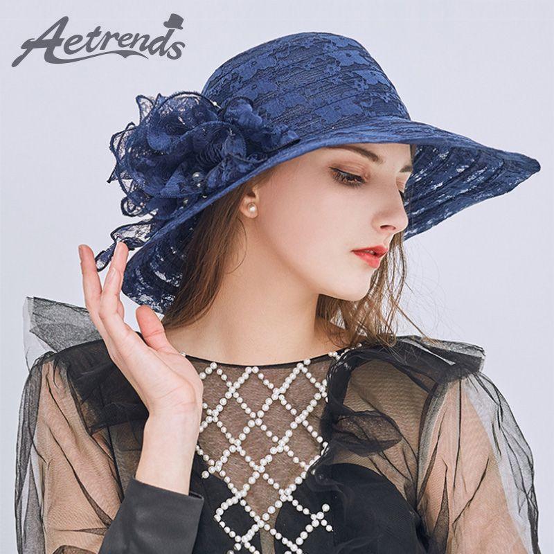 dd12b31ff31 Vintage Floral Lace Net Yarn Sun Hats for Women Summer Wide Brim Foldable  Outdoor Travel Beach Caps Z-6474