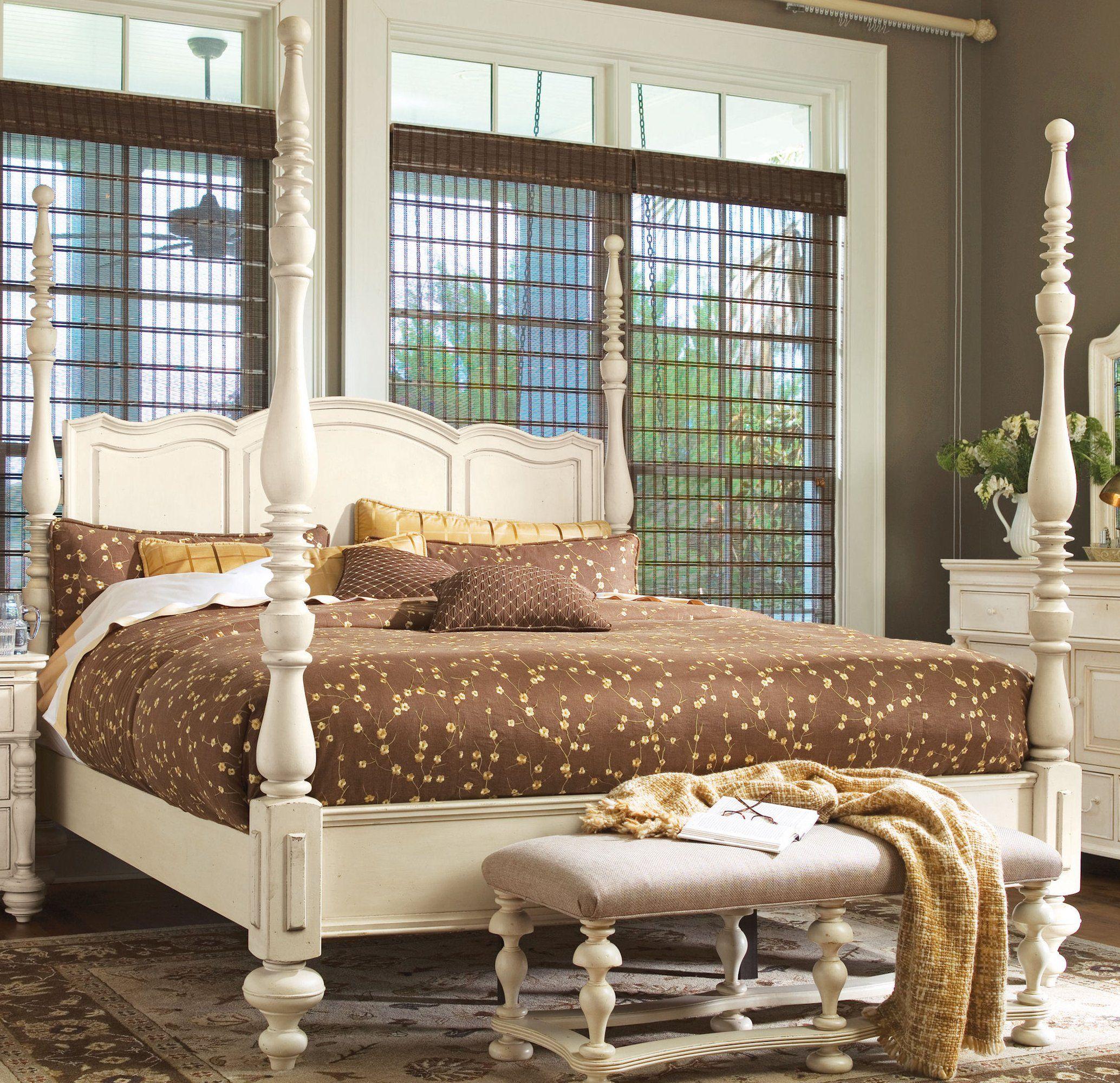 antique white 4 poster bed | household | Pinterest