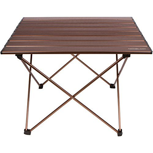 Trekology Camping Beach Table With Aluminum Top Portable Folding In A Bag For Picnic Camp Patio Fishing Rv Indoor Brown Color Click