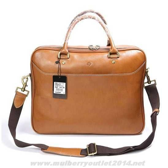 93d12ce4354 Mulberry Mens Small Oliver Natural Leather Laptop Briefcase Light Coffee  For Cyber Monday