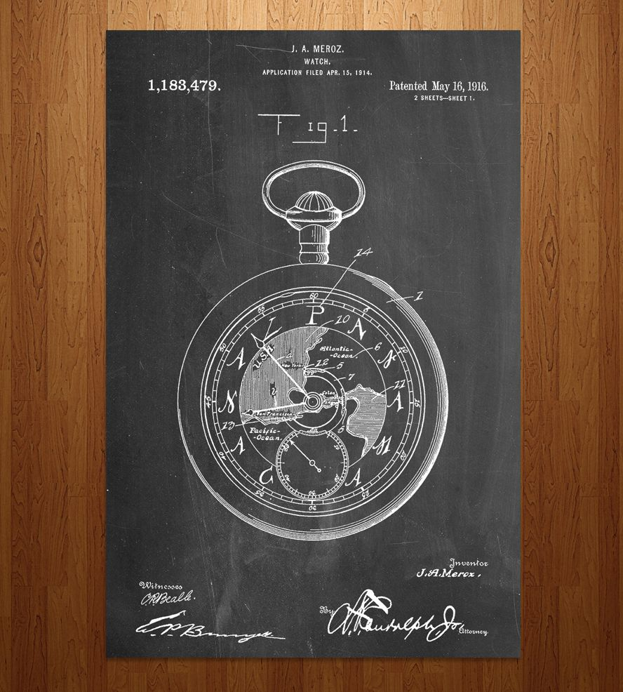Pocket Watch Patent Art Print by Patent Prints on Scoutmob Shoppe