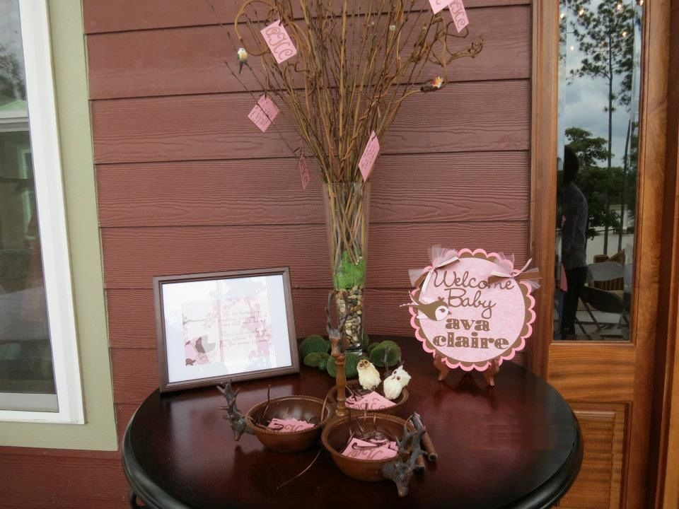 Woodland / Forest Themed Baby Shower For A Girl   Pink And Brown Cake Table  With