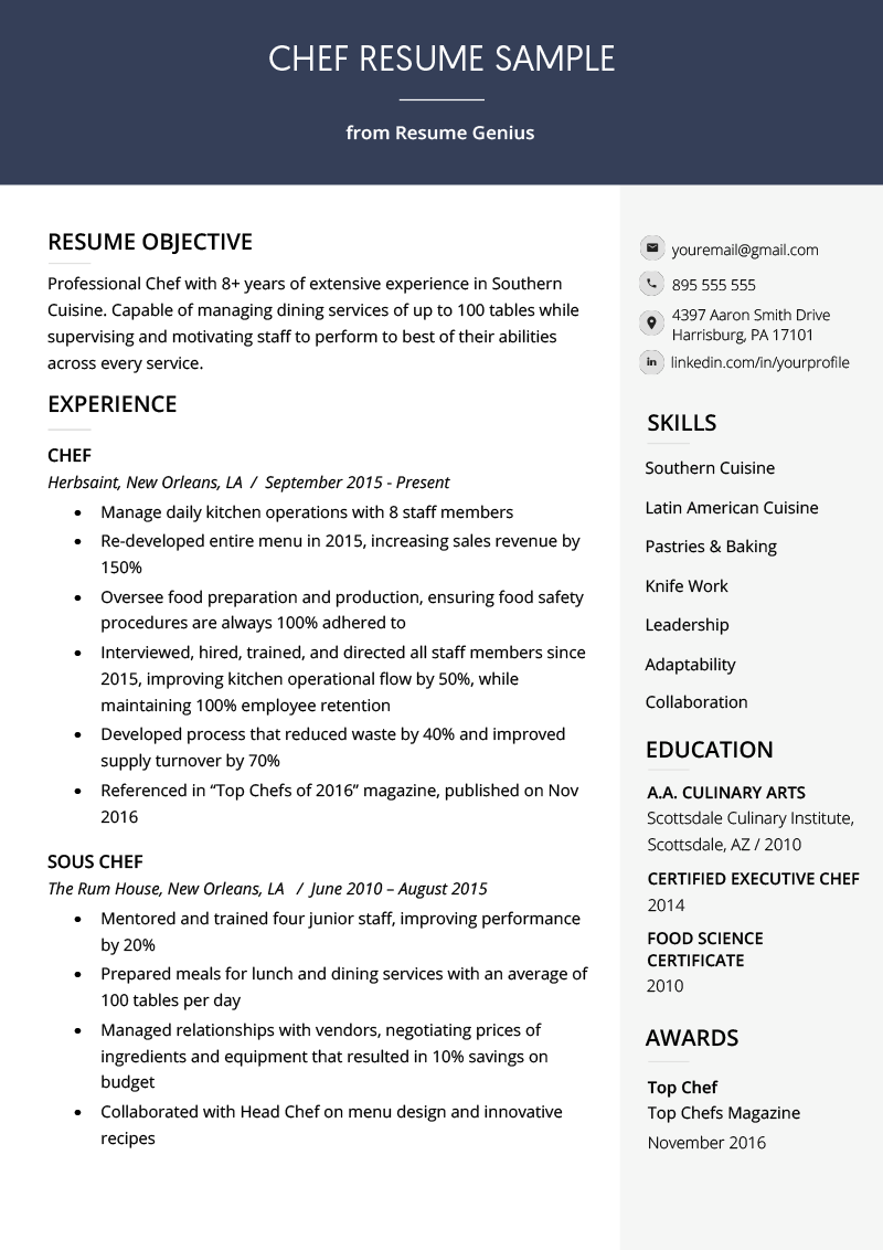 Chef Resume Sample & Writing Guide Resume Genius Chef