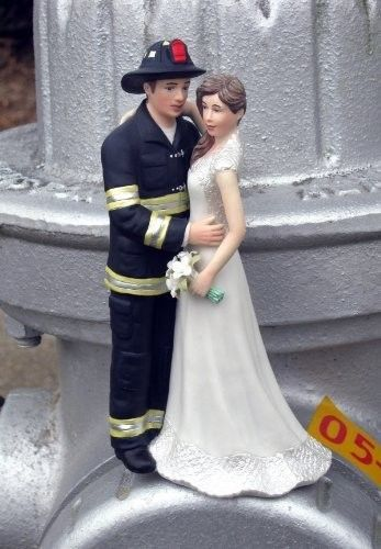 Wedding Cake Topper Favors Fireman Invitations Decorations Gown Ring ...