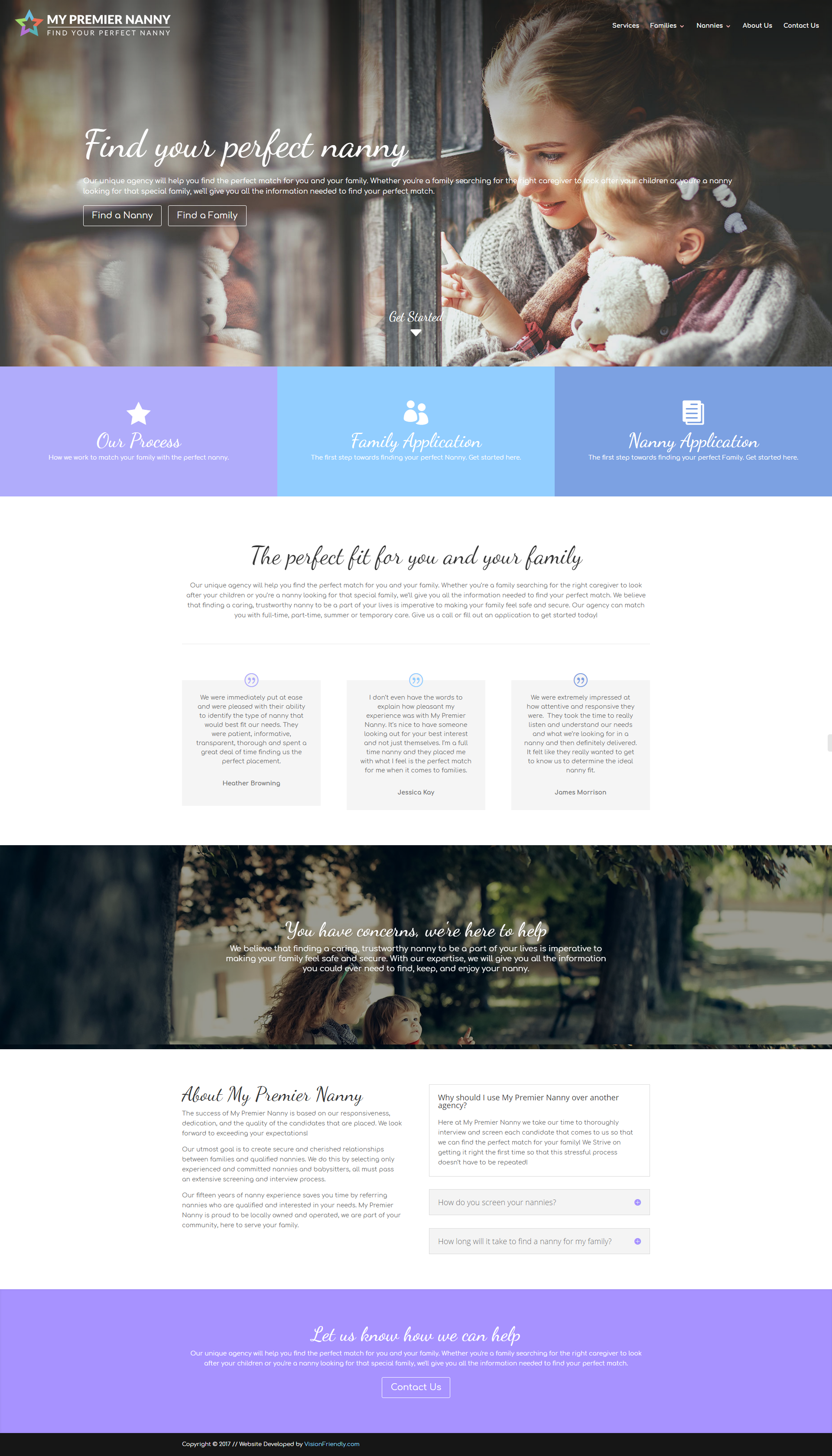 We Love How The New Site For My Premier Nanny By Visionfriendly Turned Out Websitedesign Webdevelopment B Website Design Digital Marketing Company Design