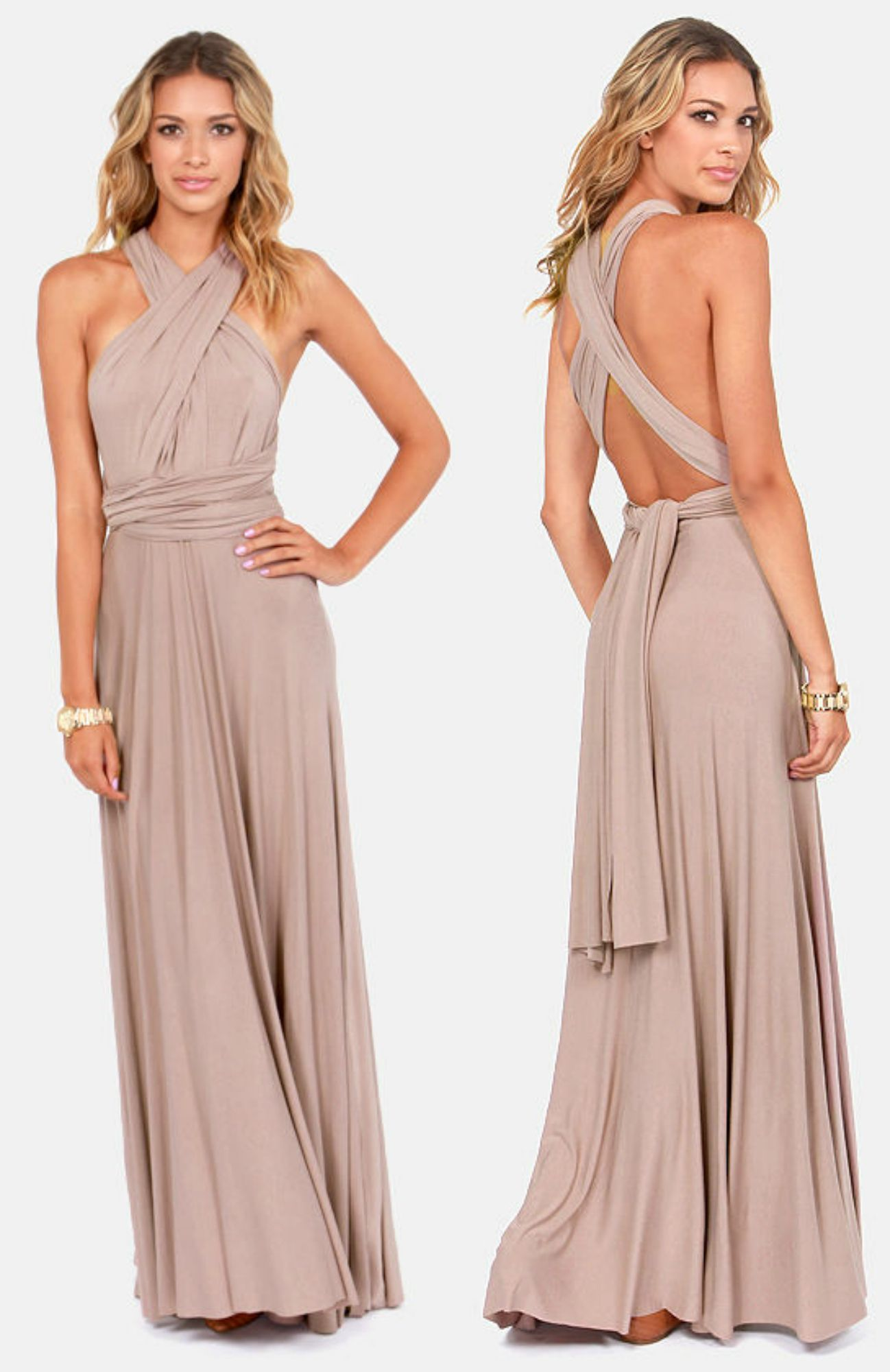 Tricks of the Trade Taupe Maxi Dress | Vestiditos, Vestidos de ...