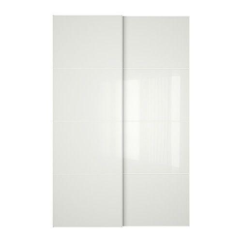 Farvik Schuifdeur Set Van 2 Wit Glas 150x236 Cm Ikea Sliding Door Sliding Doors Sliding Closet Doors