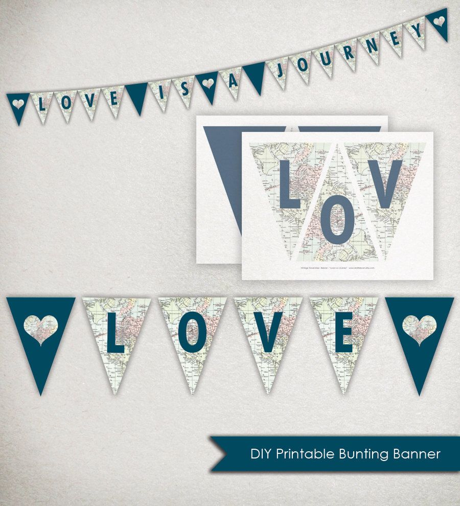 Design banner for etsy - Instant Download Love Is A Journey Banner Printable Triangle Bunting Vintage Travel