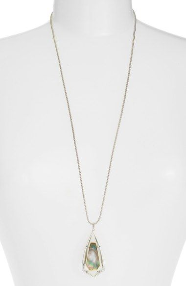 Kendra Scott 'Carole' Long Semiprecious Stone Pendant Necklace available at #Nordstrom