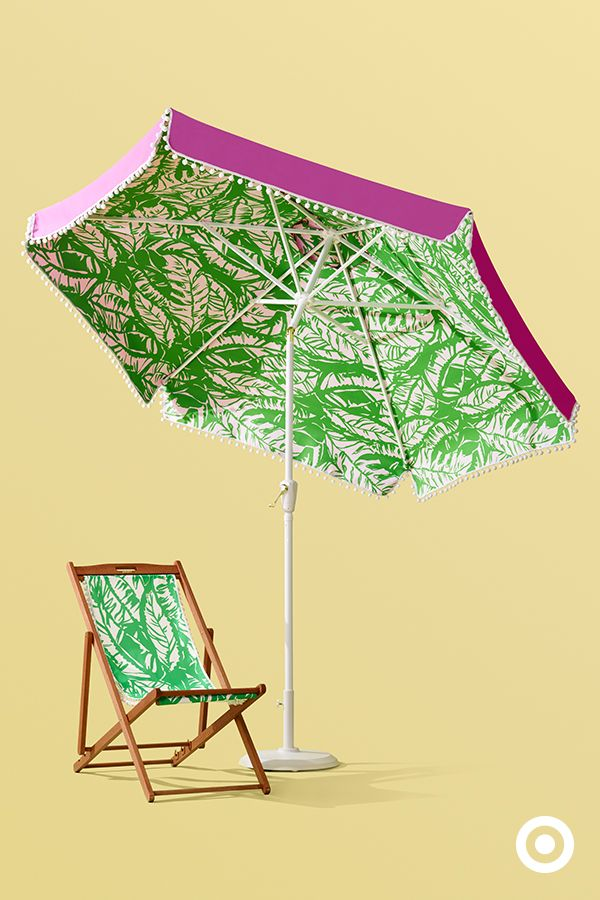 This Chic Palm Patterned Umbrella And Beach Chair Have An Afternoon By The Pool Written All Over Them In Love Lilly Pulitzer For Target Launches