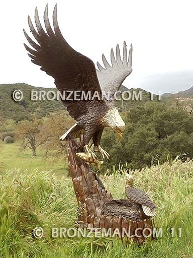 """""""Returning Home"""" Bronze Eagle Sculpture. This 5 1/2 ft. tall masterpiece captures the returning parent with todays special fish surprise. An exceptional work of art for any backyard setting. Over 30 years of experience in making bronze sculptures does make a difference. Call me today at (877) 528-2531."""