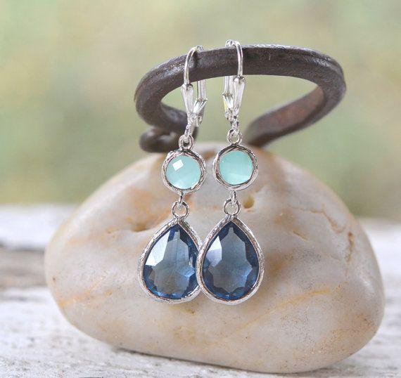 Sapphire Blue Teardrop and Aqua Dangle Earrings in Silver ...