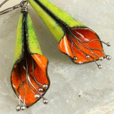 Fantastic Copper Enamel Flower Earrings by Michelle Mahler (Teka and Zoe)