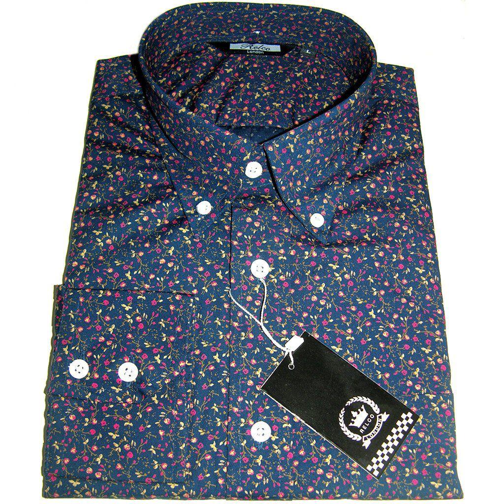 Navy Multi Colour Floral Pattern Vintage Design Button Down Shirt ...