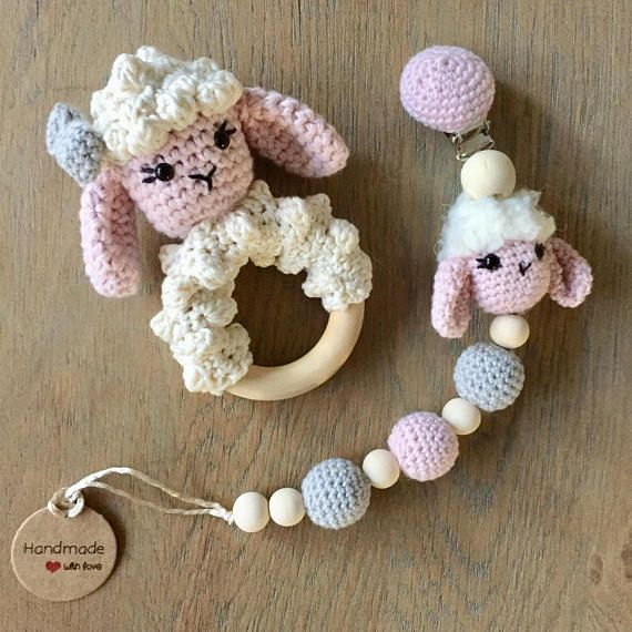 Stroller Decor Teething Ring Pacifier Clip Babygirl Sheep Lambs