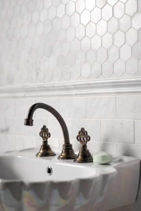 Hexagon Liner Chair Rail And White Subway Below Traditional Bathroom Honeycomb Tile