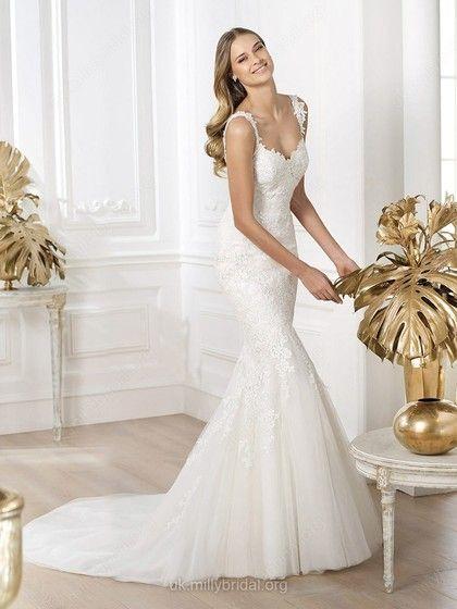 Trumpet/Mermaid Straps Tulle Court Train Lace Wedding Dresses -GBP£188.19