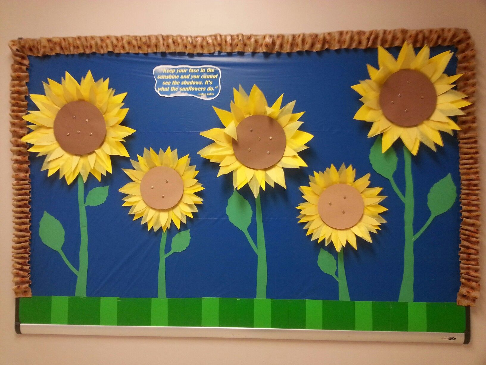 Sunflower Bulletin Board With Helen Keller Quote