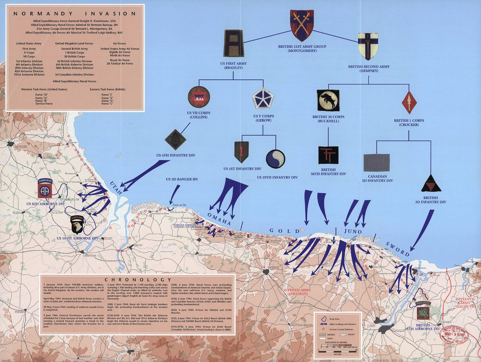 War Map D Day 6th Of June Normandy Military Wwii History