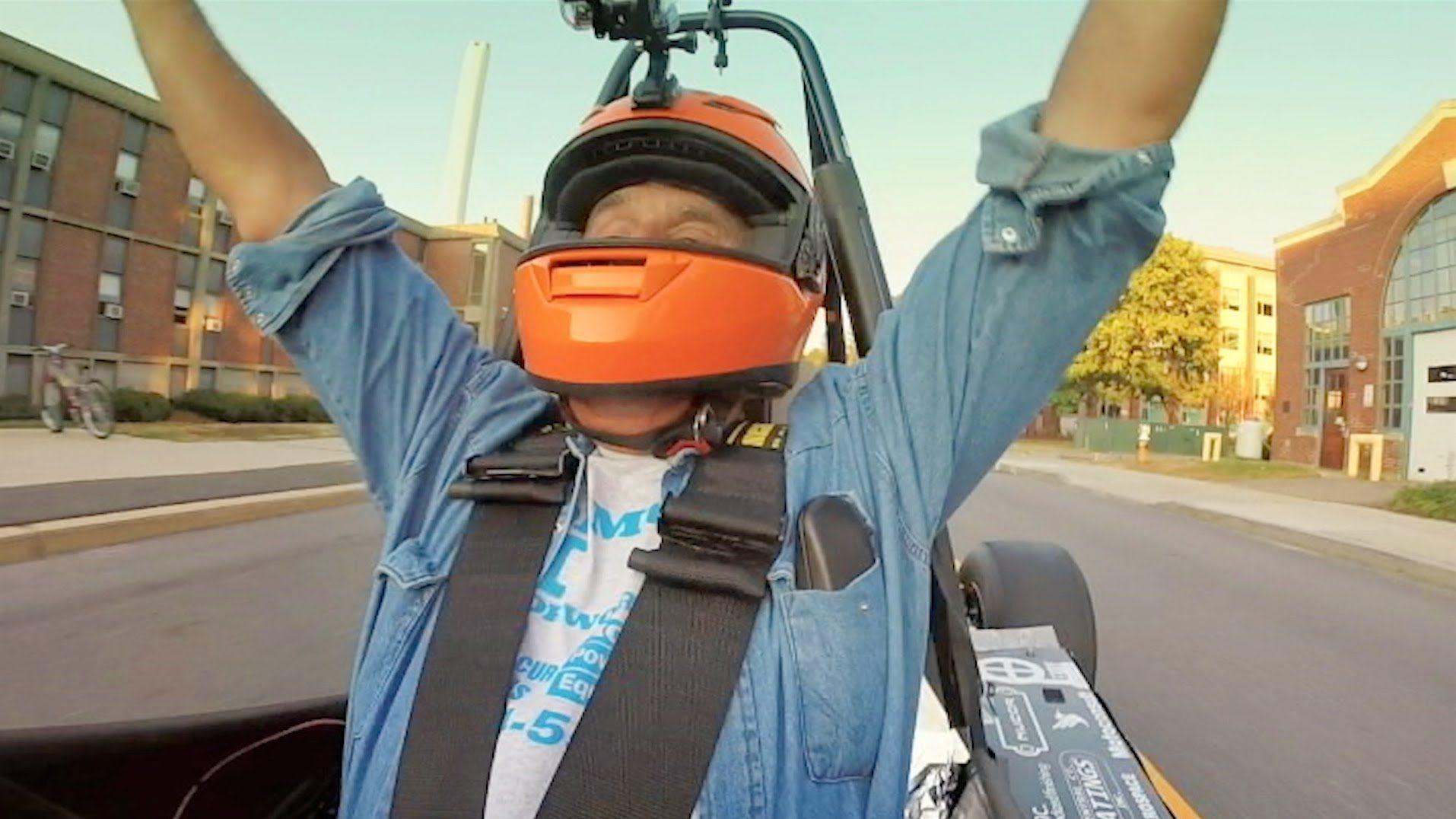 Jay Leno Cruises Around UConn in a StudentBuilt Race Car